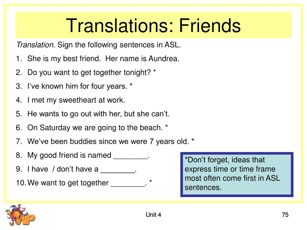 Translations: Friends