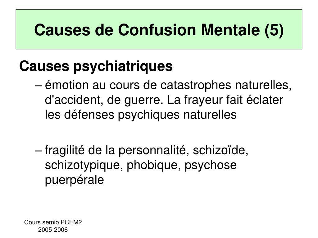 Causes de Confusion Mentale (5)