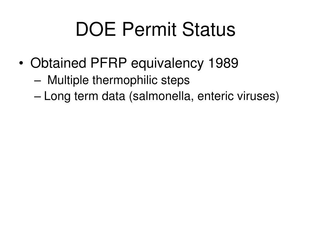 DOE Permit Status
