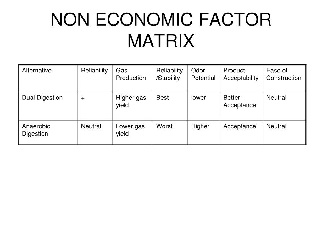 NON ECONOMIC FACTOR MATRIX