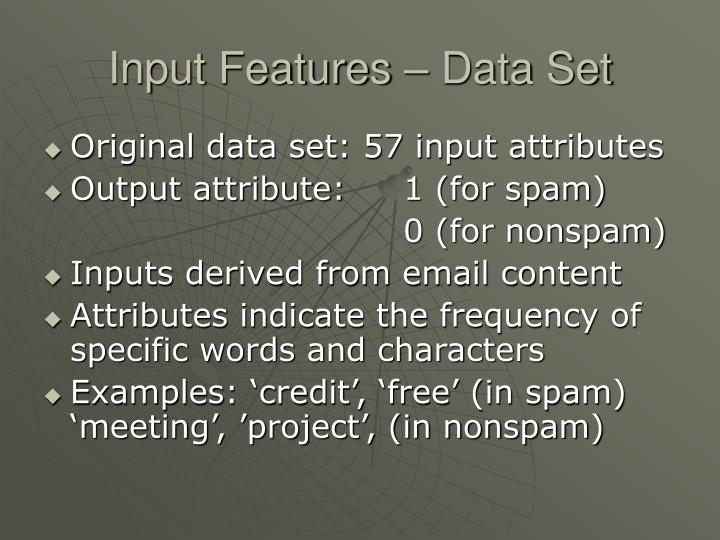 Input Features – Data Set