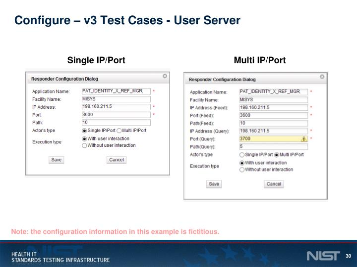 Configure – v3 Test Cases - User Server