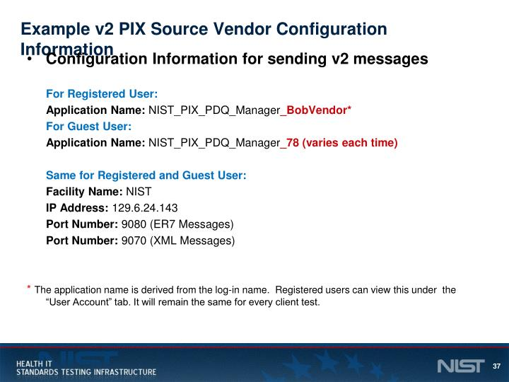 Example v2 PIX Source Vendor Configuration Information