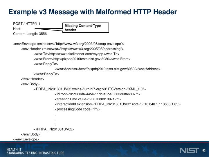 Example v3 Message with Malformed HTTP Header