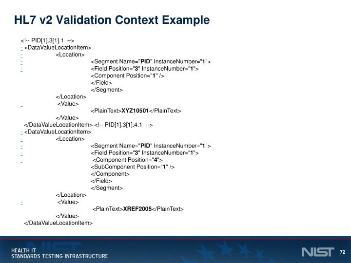HL7 v2 Validation Context Example