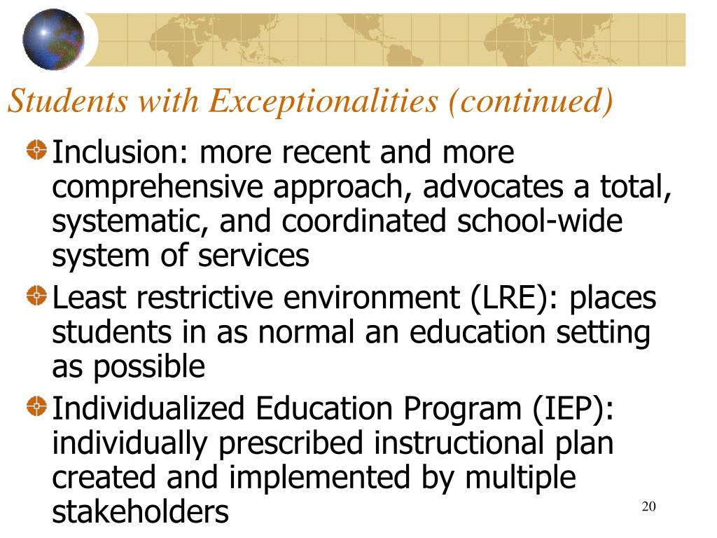 Students with Exceptionalities (continued)