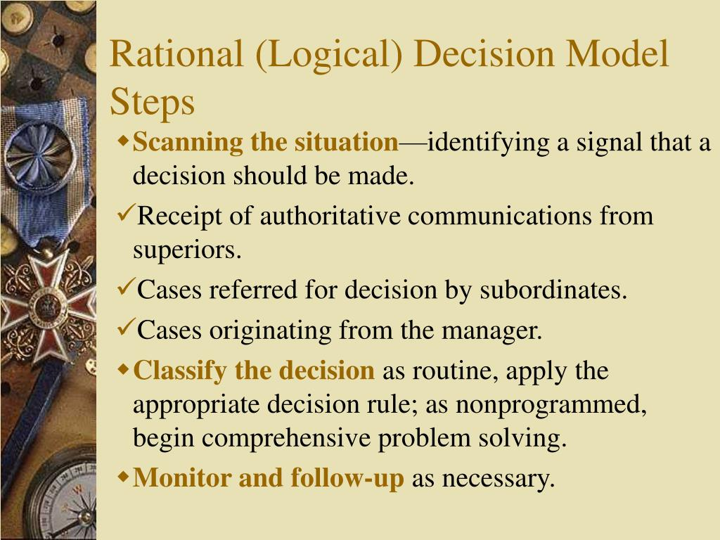 Rational (Logical) Decision Model Steps