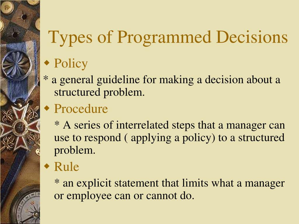 Types of Programmed Decisions
