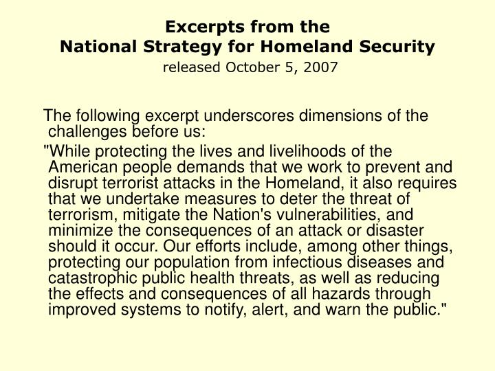 Excerpts from the national strategy for homeland security released october 5 2007 l.jpg