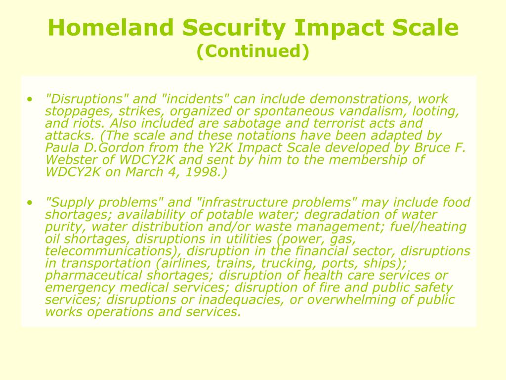 Homeland Security Impact Scale