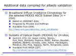 additional data compiled for albedo validation