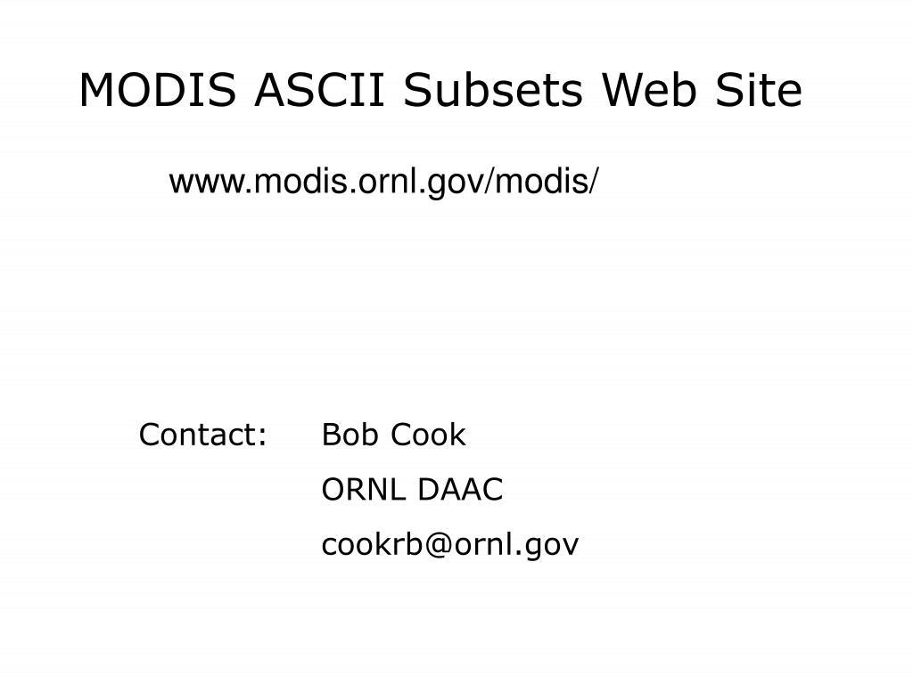 MODIS ASCII Subsets Web Site