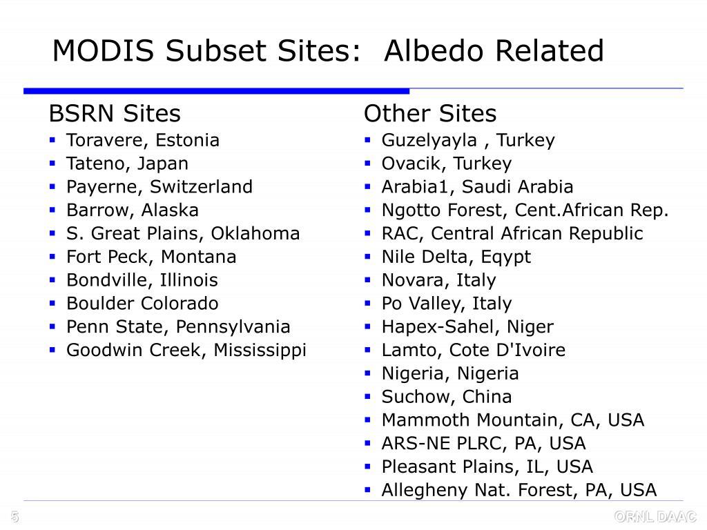 BSRN Sites