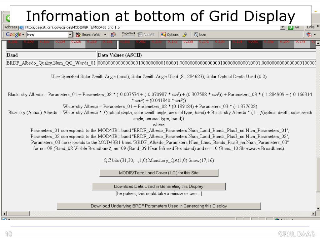Information at bottom of Grid Display