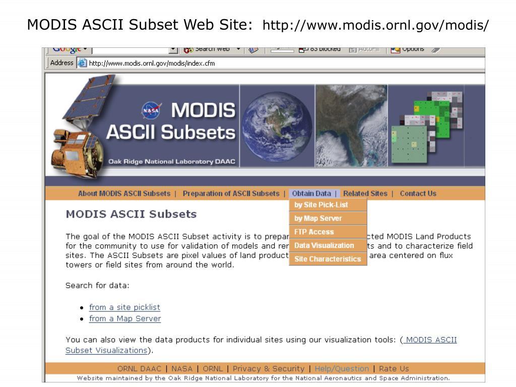 MODIS ASCII Subset Web Site: