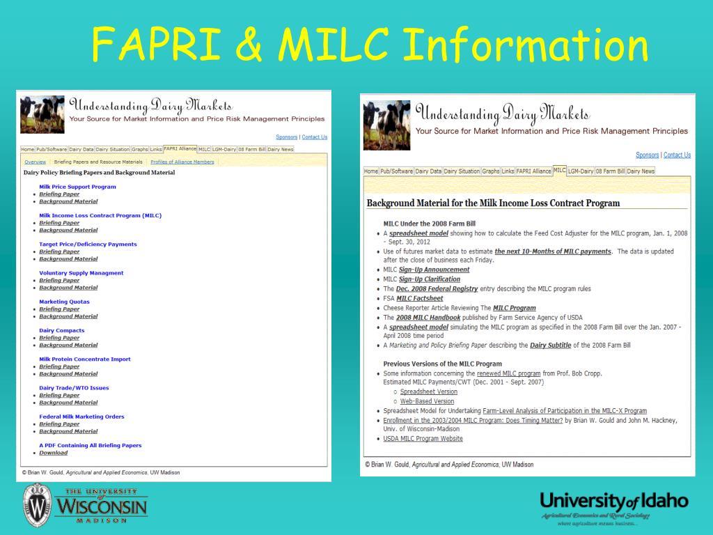 FAPRI & MILC Information