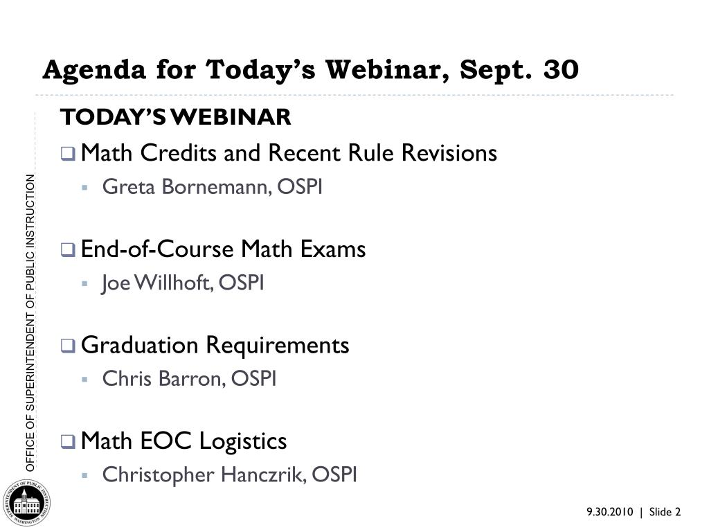 Agenda for Today's Webinar, Sept. 30