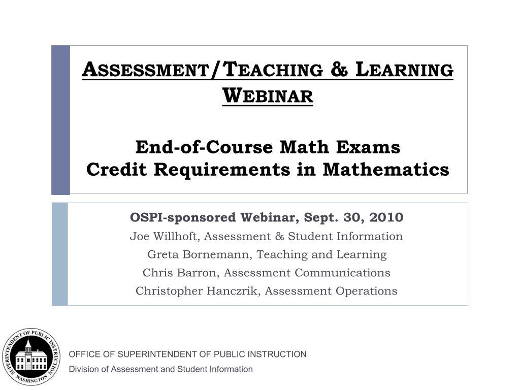 Assessment/Teaching & Learning Webinar