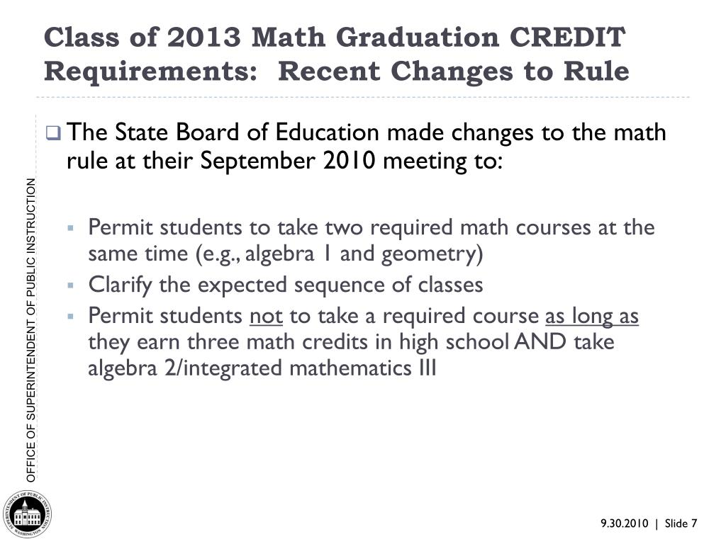 Class of 2013 Math Graduation CREDIT Requirements:  Recent Changes to Rule