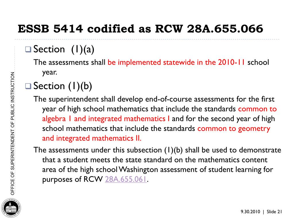 ESSB 5414 codified as RCW 28A.655.066