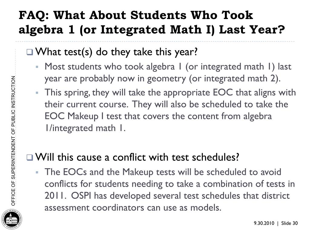 FAQ: What About Students Who Took algebra 1 (or Integrated Math I) Last Year?