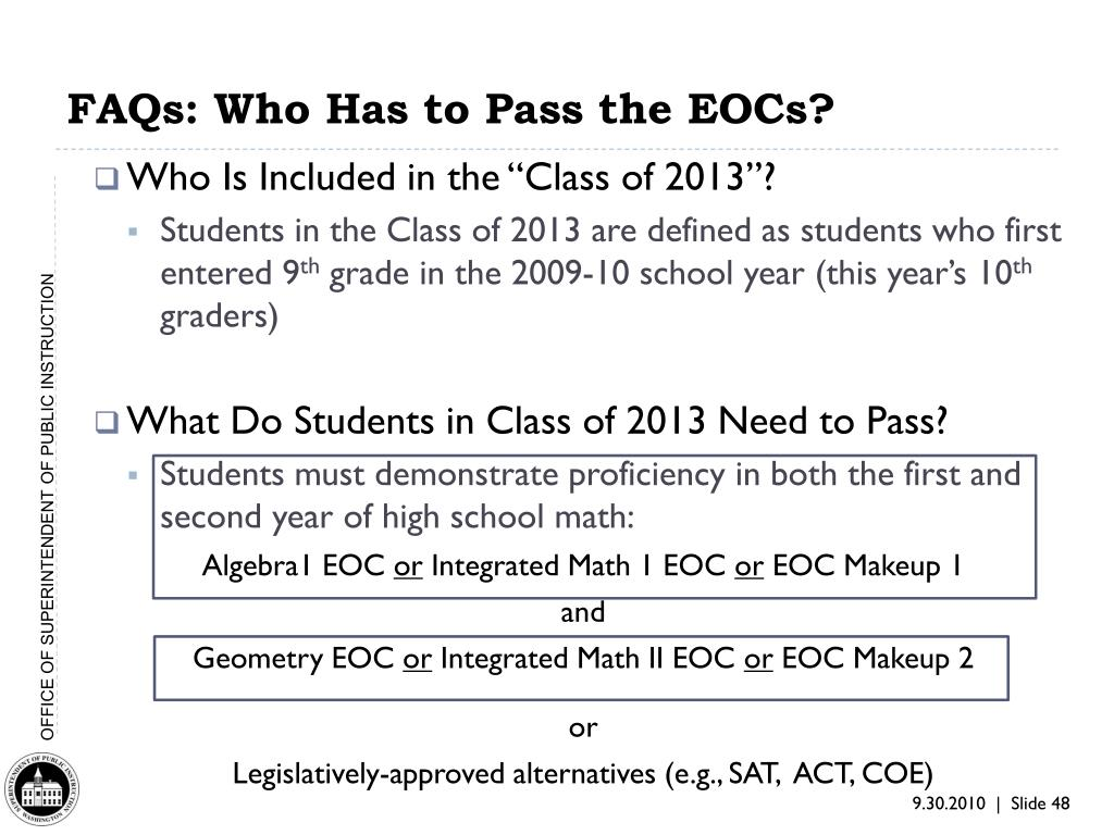 FAQs: Who Has to Pass the EOCs?
