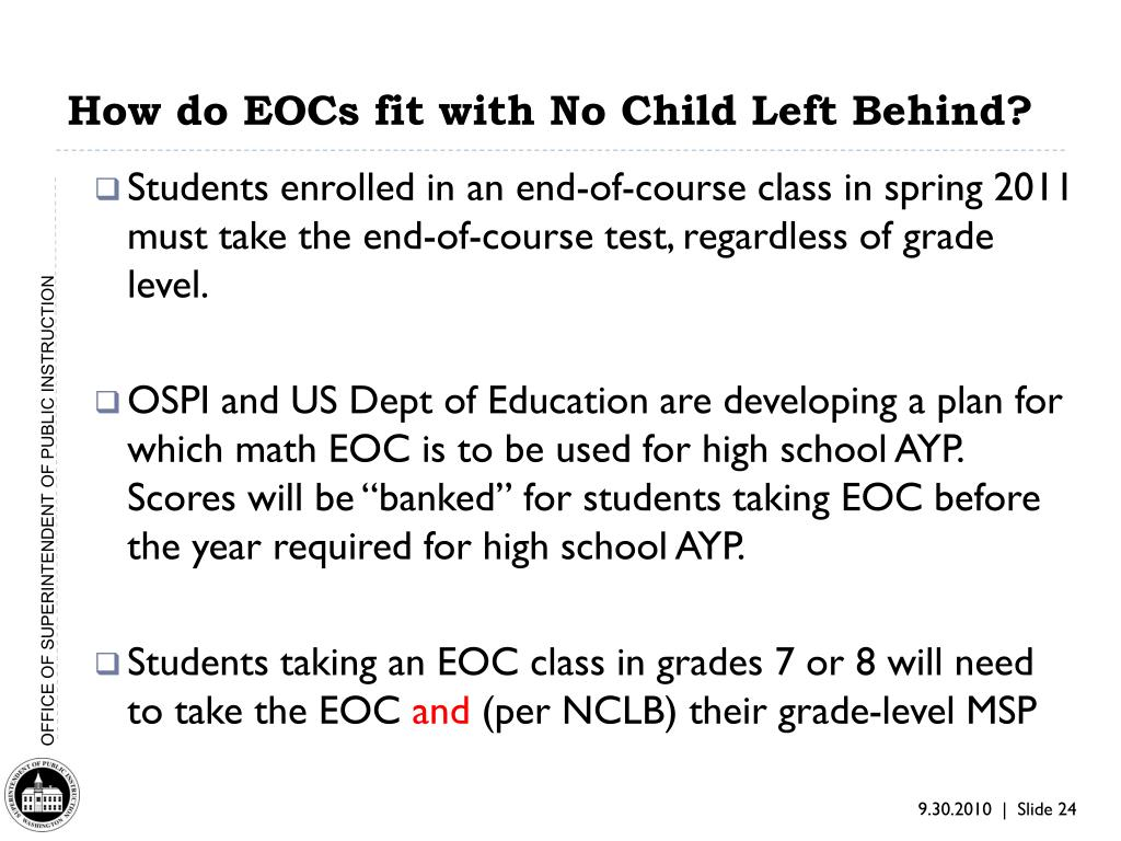How do EOCs fit with No Child Left Behind?