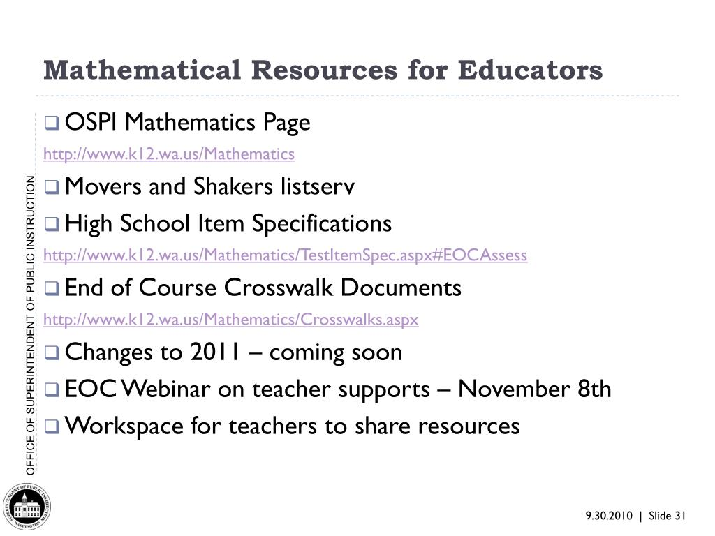 Mathematical Resources for Educators