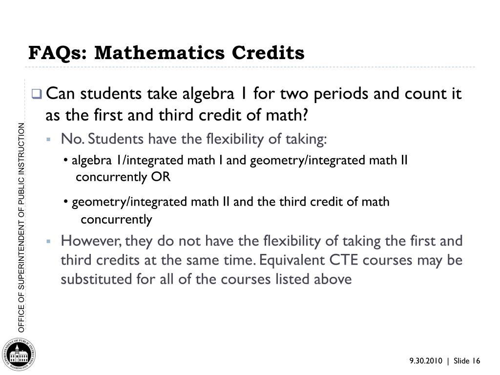 FAQs: Mathematics Credits