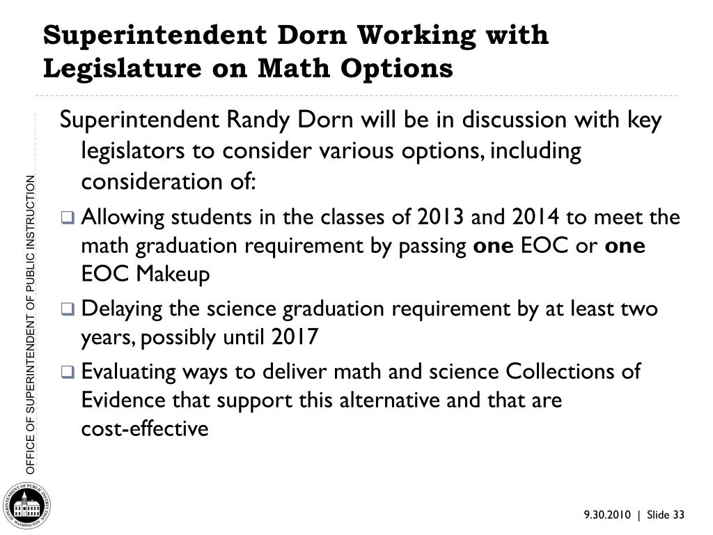 Superintendent Dorn Working with Legislature on Math Options