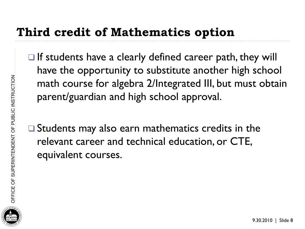 Third credit of Mathematics option
