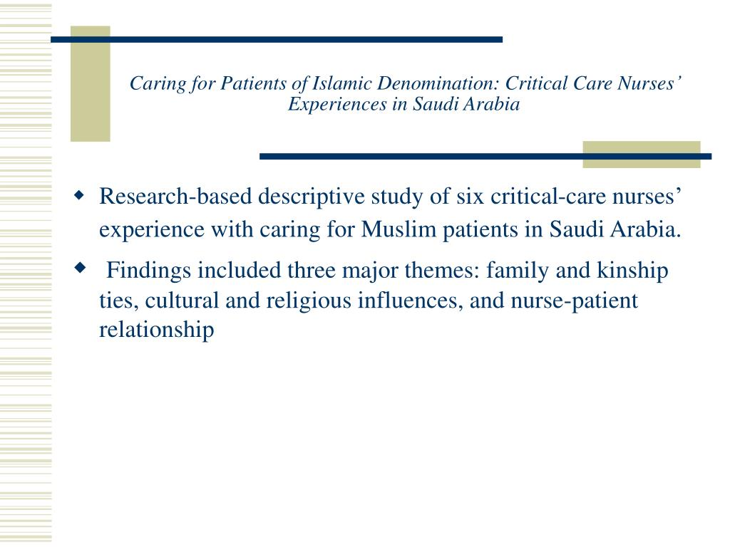 Caring for Patients of Islamic Denomination: Critical Care Nurses' Experiences in Saudi Arabia
