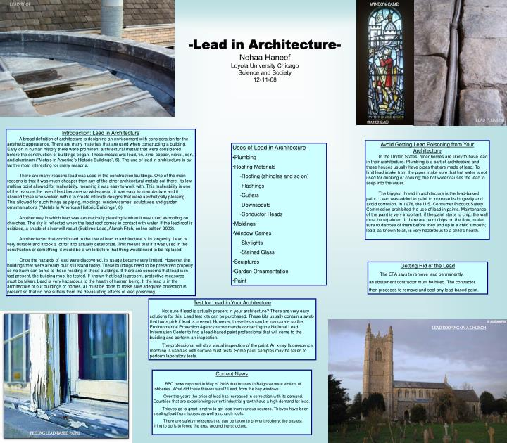 Lead in architecture nehaa haneef loyola university chicago science and society 12 11 08 l.jpg