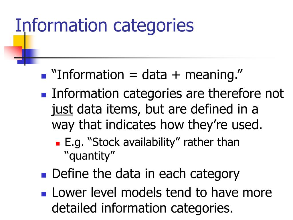 Information categories