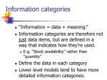 information categories