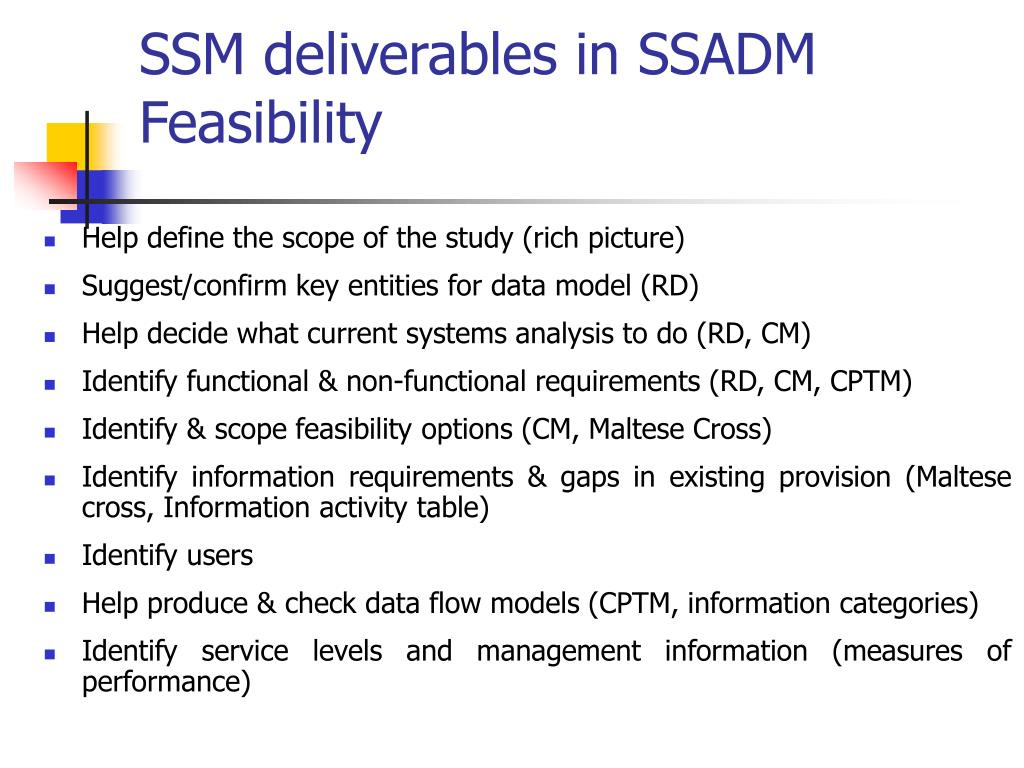 SSM deliverables in SSADM Feasibility