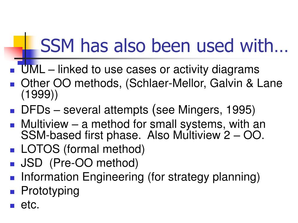 SSM has also been used with…