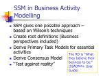 ssm in business activity modelling