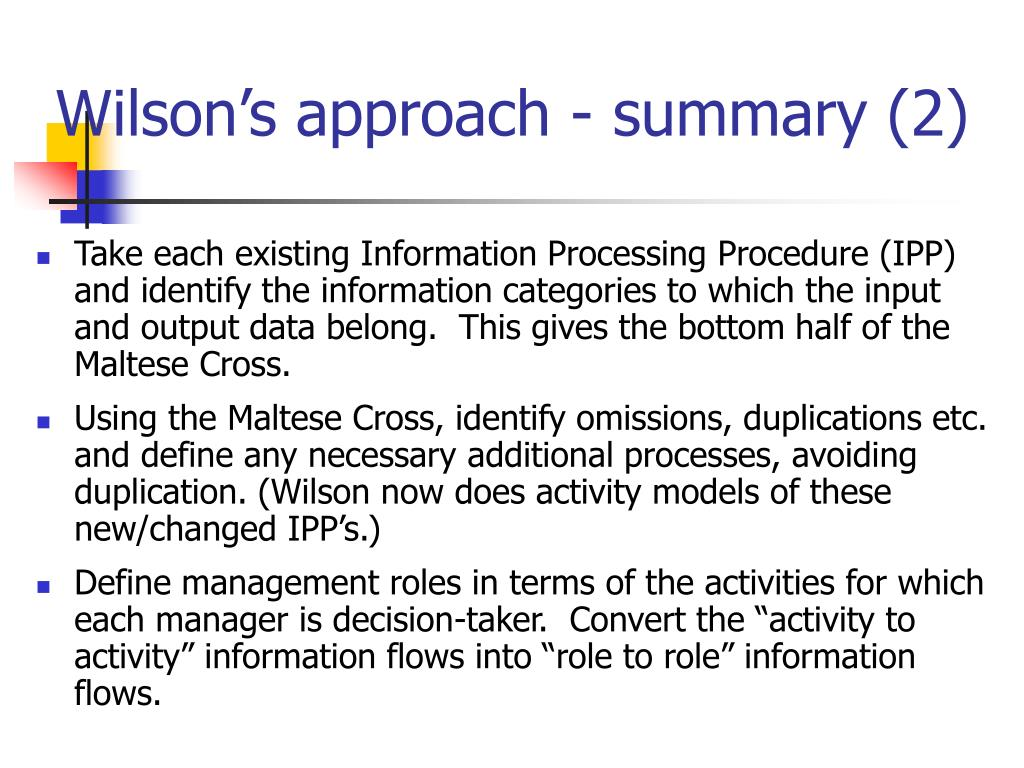 Wilson's approach - summary (2)