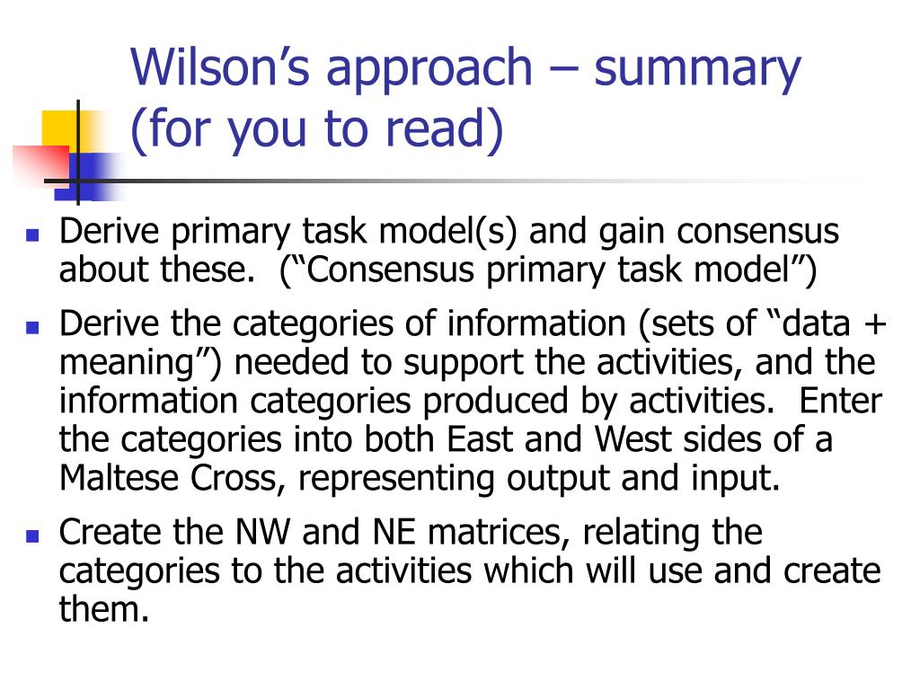 Wilson's approach – summary         (for you to read)