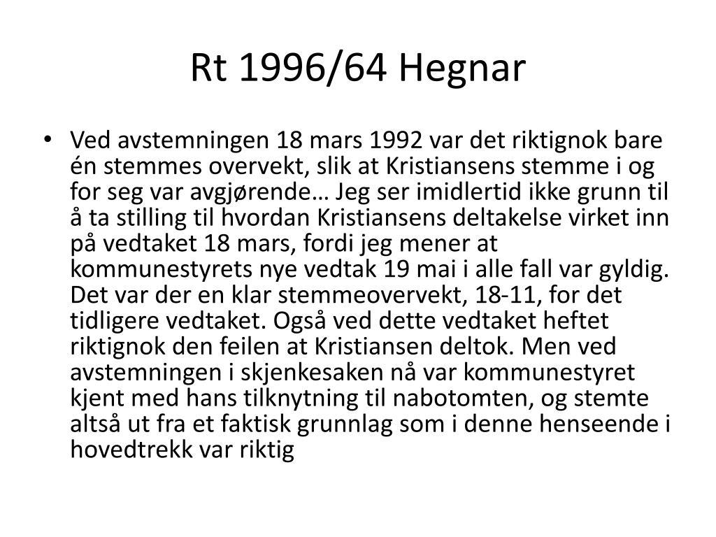 Rt 1996/64 Hegnar