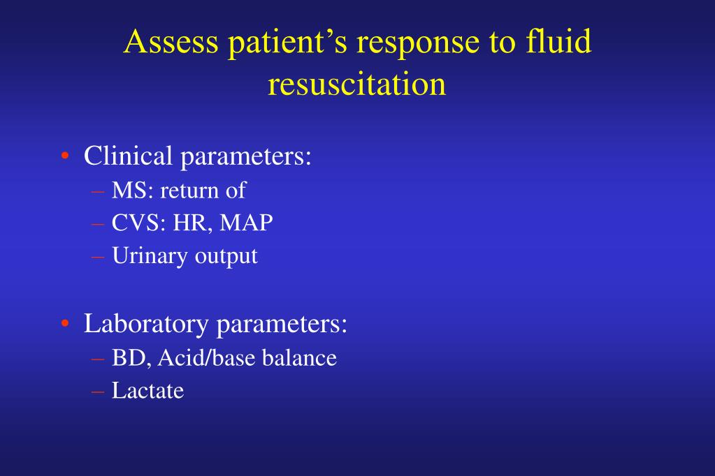 Assess patient's response to fluid resuscitation