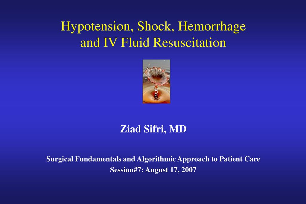 Hypotension, Shock, Hemorrhage
