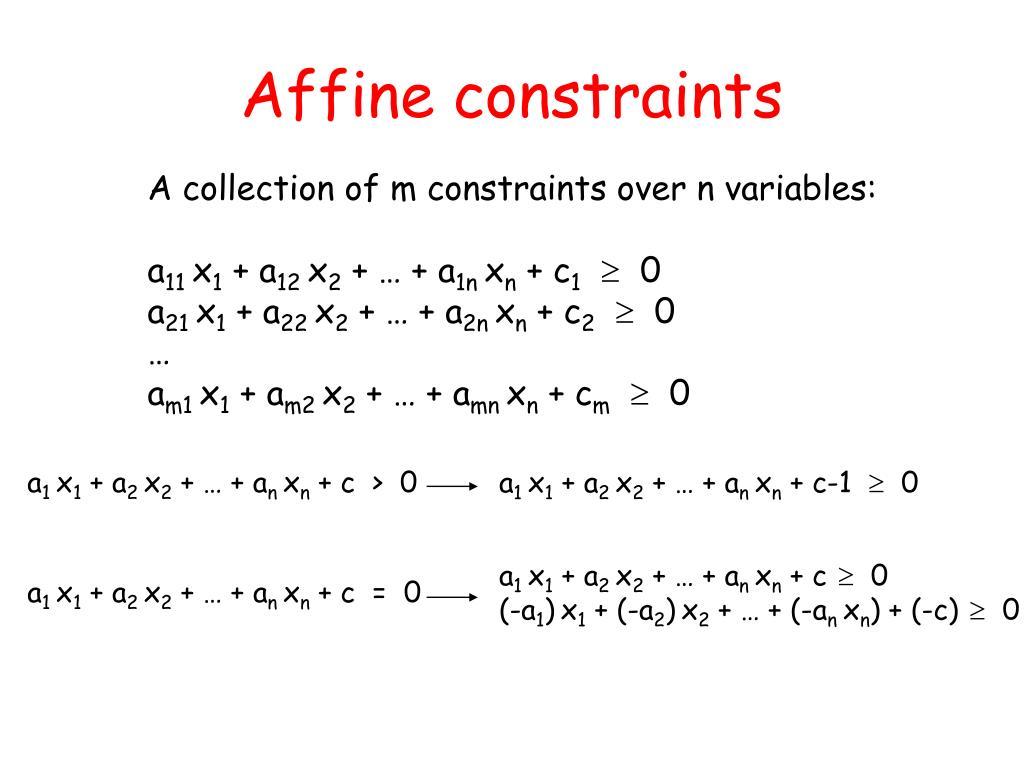 Affine constraints