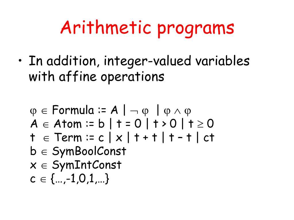 Arithmetic programs