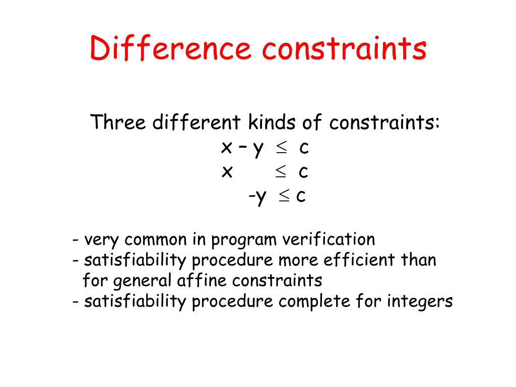 Difference constraints