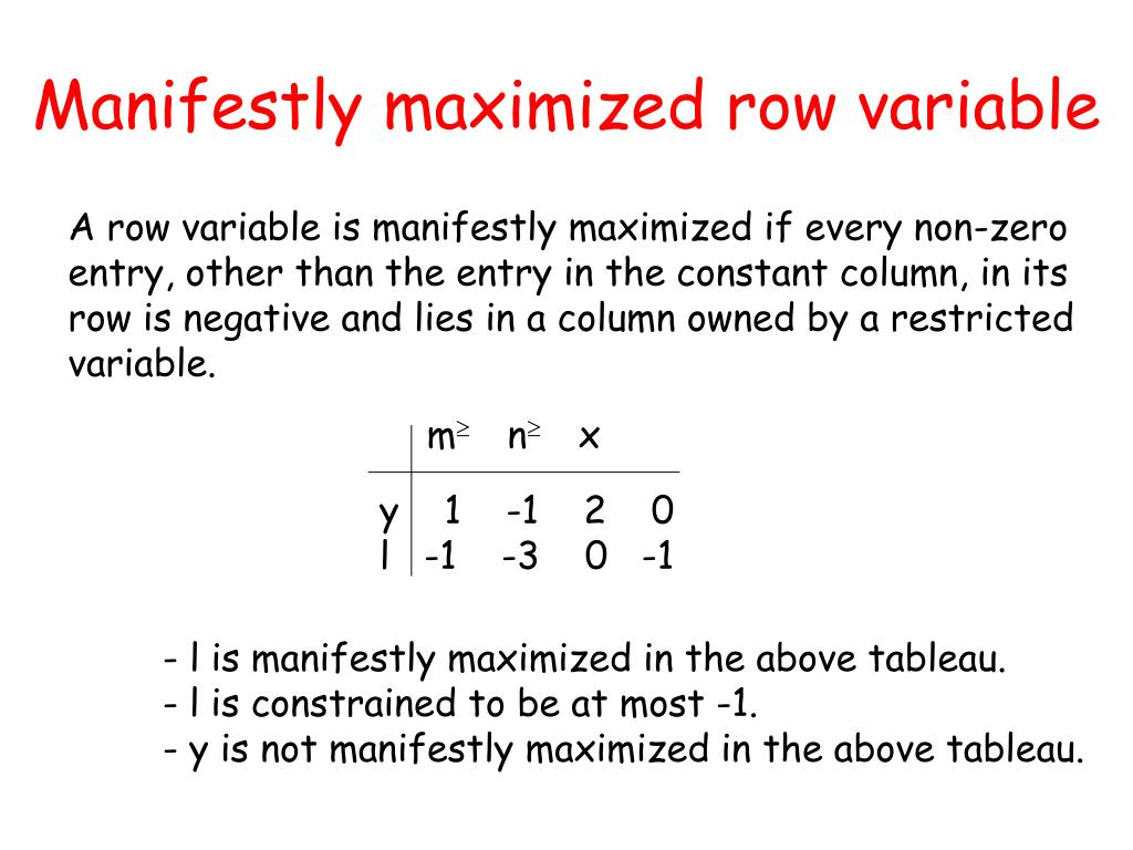 Manifestly maximized row variable