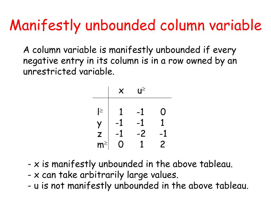 Manifestly unbounded column variable
