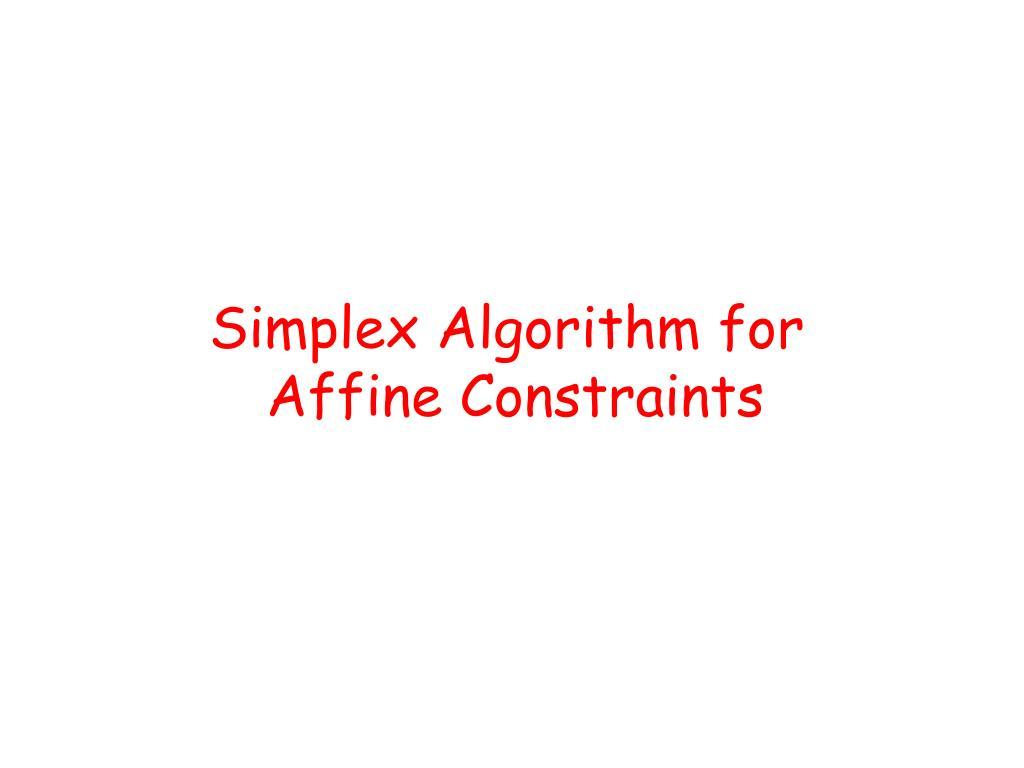 Simplex Algorithm for