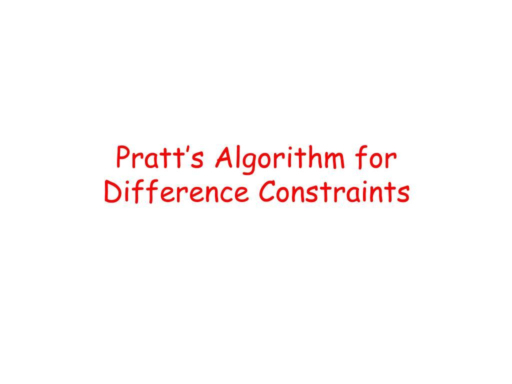 Pratt's Algorithm for